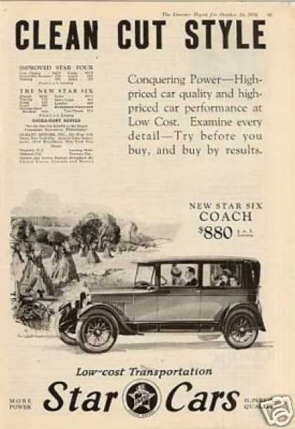 "Star Six Coach Ad ""Clean Cut Style... (1926)"