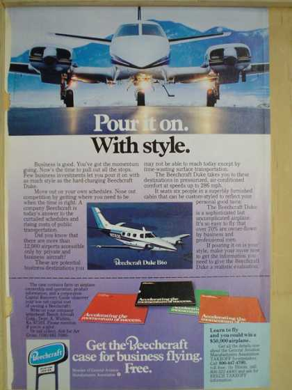 Beechcraft Airplanes Plane Pour it on in style (1977)
