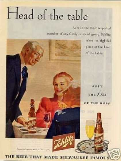 "Schlitz Beer Ad ""Head of the Table... (1945)"