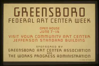 Greensboro Federal Art Center week – Open house June 7-14 – Visit your community art center, Jefferson Standard Building. (1936)
