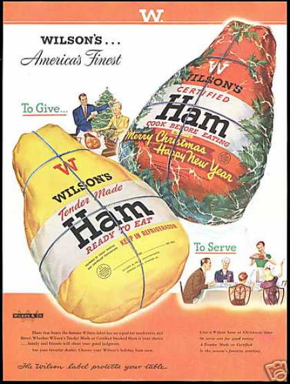 Wilson's Tender Made Smoked Ham Print Art (1948)