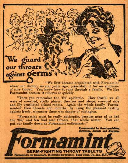 "Bauer Chemical Company, Incorporated's Formamint – ""We guard our throats against germs"""