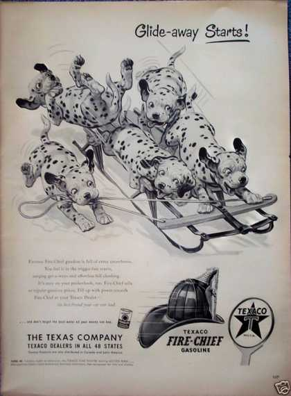 Texaco Fire Chief Dalmatian Puppies Snow Sled (1953)