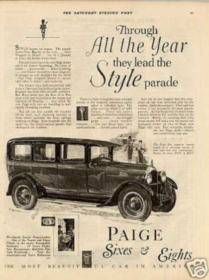 "Paige Car Ad ""Through All the Year... (1927)"
