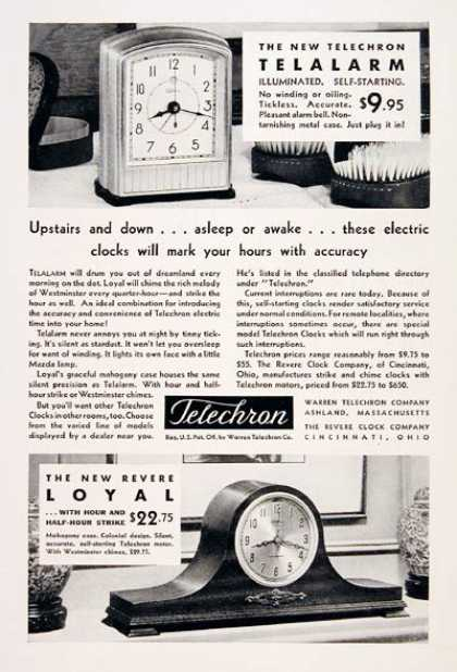 Telechron Alarm Clocks (1931)