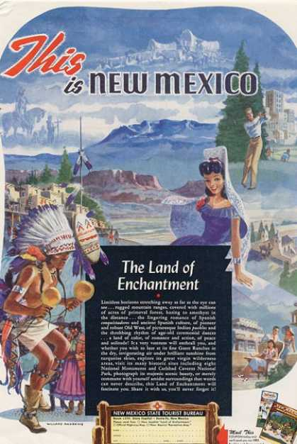 Indian Willard Andrews New Mexico Travel Ad T (1949)