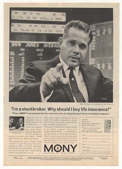 Stockbroker Jack McIntyre MONY Insurance Photo (1963)
