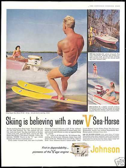 Johnson V Sea Horse Outboard Boat Motor Skiing (1958)