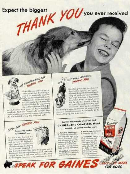 "Borzoi Photo ""Thank You"" Gaines Dog Meal (1944)"