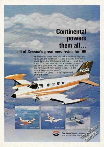 Cessna Twins In Flight Photos Continental (1969)