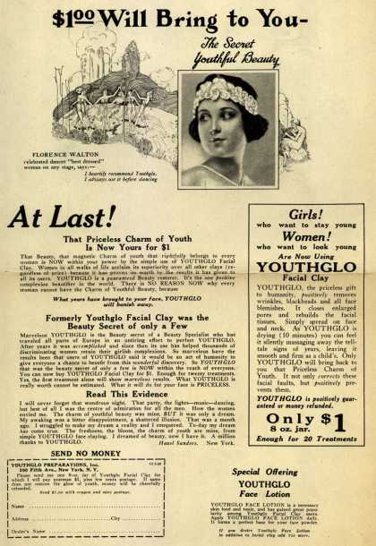 Youthglo Preparation's Youthglo Face Lotion – $1.00 Will Bring to You - (1923)