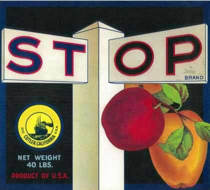 Stop Apple Crate Label – Cutler, CA