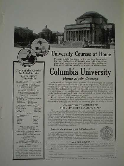 Columbia University Home Study AND OshKosh Trunks AND CUNARD LINE…. (1926)