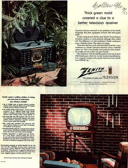Zenith Radio and Television's Television Receivers – Thick green mold covered a clue to a better television receiver (1953)