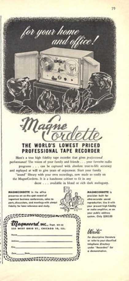 Magne Cordette Reel To Reel Tape Recorder (1952)
