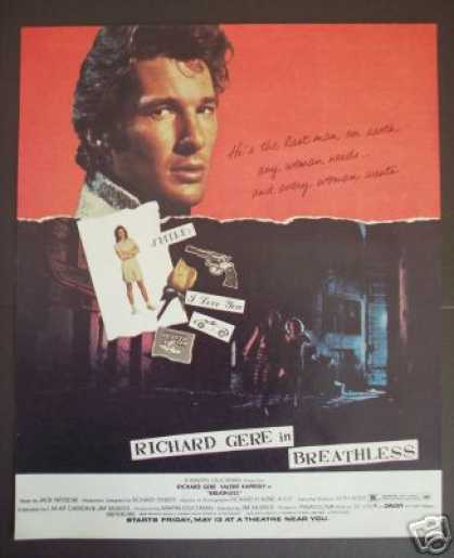 Movie Promo Ad Richard Gere In Breathless (1983)