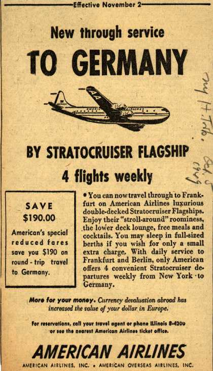 American Airline's Stratocruiser Flagship to Germany – New through service to Germany (1949)