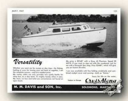 Cruis Along Boat Photo Solomons Md Antique (1947)