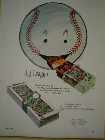 Milky Way candy bar Big League baseball theme (1954)