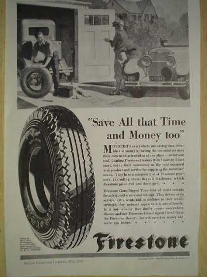 Firestone Tires Save all that time and money too (1930)
