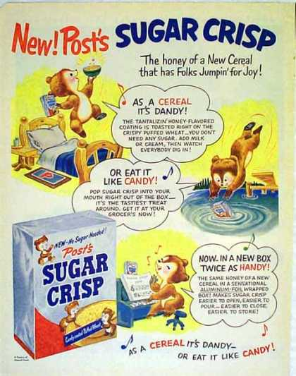 Post's Sugar Crisp Cereal – Young Sugar Bear (1951)