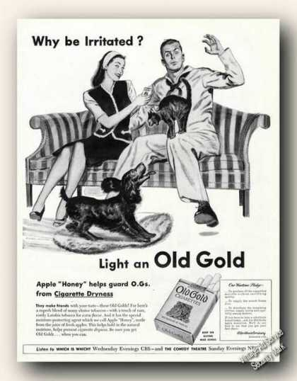 Old Gold Cigarettes Clark Agnew Art Advertising (1945)