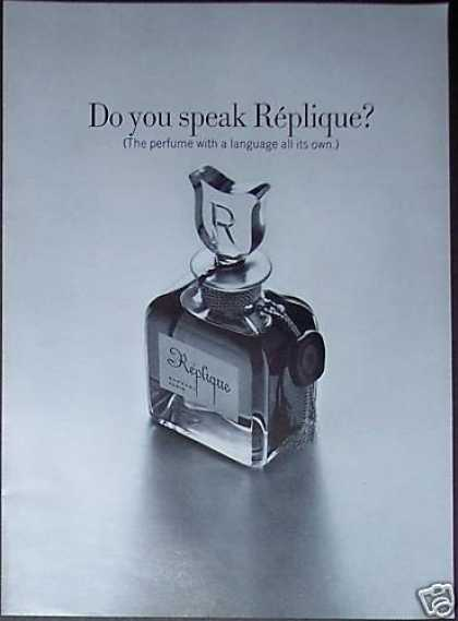 Replique Perfume Bottle Ad Advertising Page (1967)
