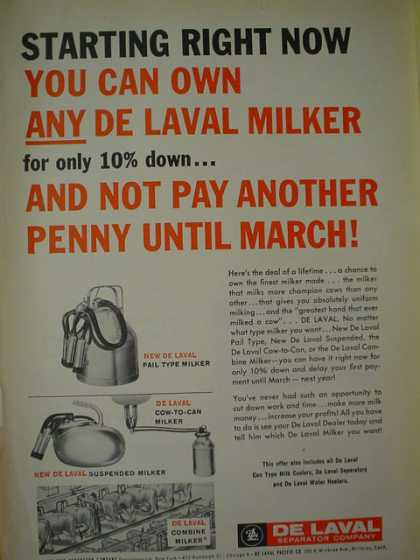 De Laval Separator Milker Cow to Can, Pail Type (1957)