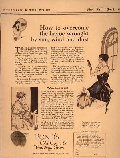 Pond's Extract Co.'s Pond's Cold Cream and Vanishing Cream – How to overcome the havoc wrought by sun, wind and dust (1920)