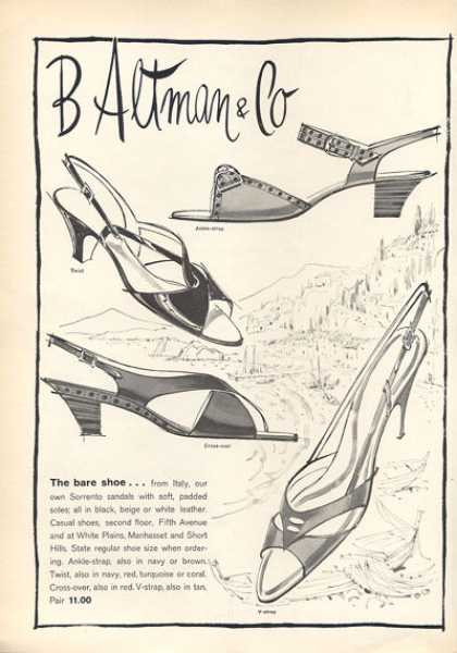 B Altman Sorrento Sandals Shoe (1963)