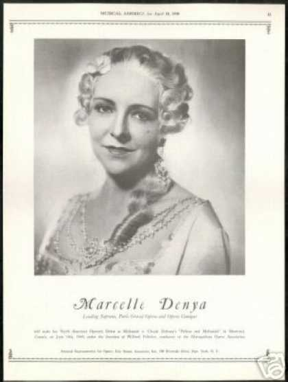 Marcelle Denya Photo Opera Soprano Vintage (1940)