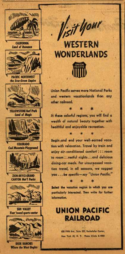 Union Pacific Railroad's Vacation Travel – Visit Your Western Wonderlands (1945)