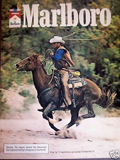 Cowboy On Galloping Horse Photo Marlboro (1981)