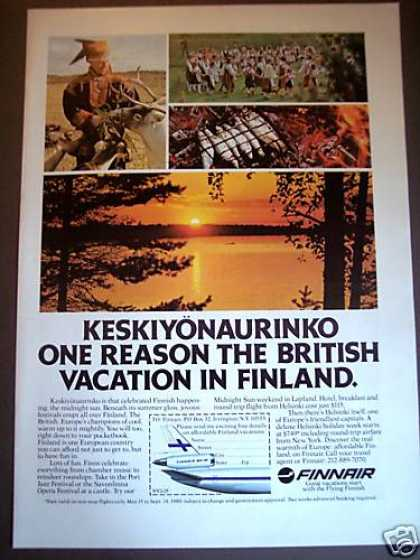 Keskiyonaurinko Midnight Sun Finnair Airline (1980)