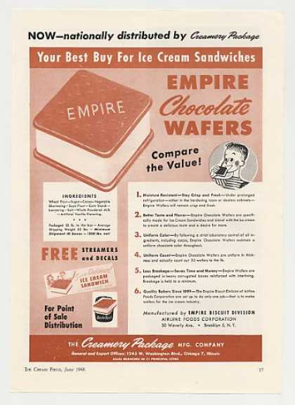 Empire Chocolate Wafer Ice Cream Sandwich Trade (1948)