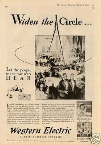 Western Electric Ad &quot;Widen the Circle... (1929)
