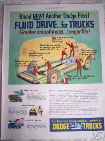 Dodge Job Rated Trucks With Fluid Drive Car (1950)