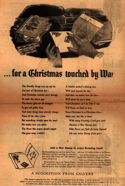 Calvert Distillers Corp.'s War Stamps – ...for a Christmas touched by War (1943)