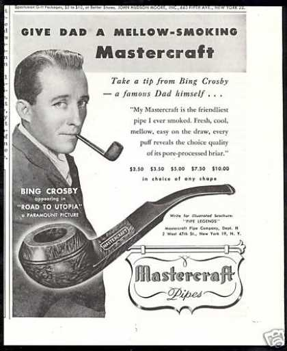 Mastercraft Tobacco Pipe Bing Crosby (1946)