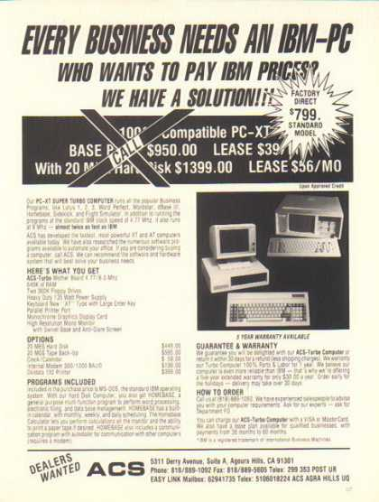 ACS – Turbo PC-XT Computer – IBM PC (1986)
