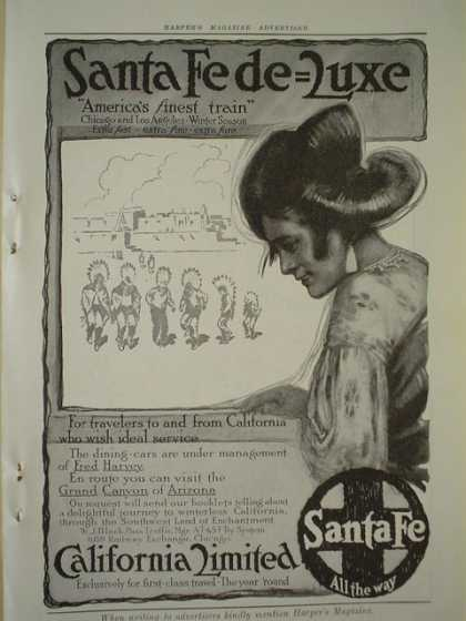 Santa Fe Railroad Deluxe California Limited AND Hotel Galvez Galveston Texas (1913)