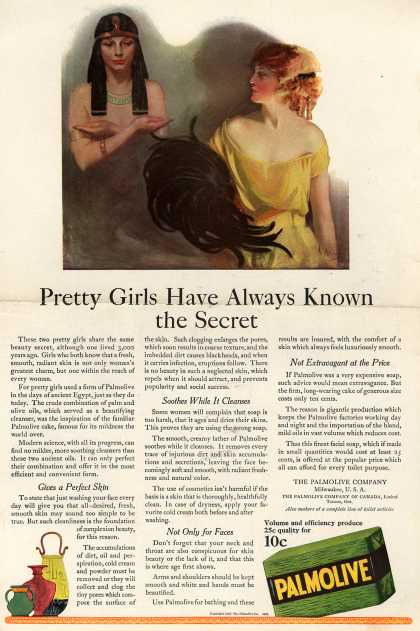 Palmolive Company's Palmolive Soap – Pretty Girls Have Always Known the Secret (1922)