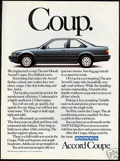 Honda Accord Coupe Photo Vintage Print Car (1988)