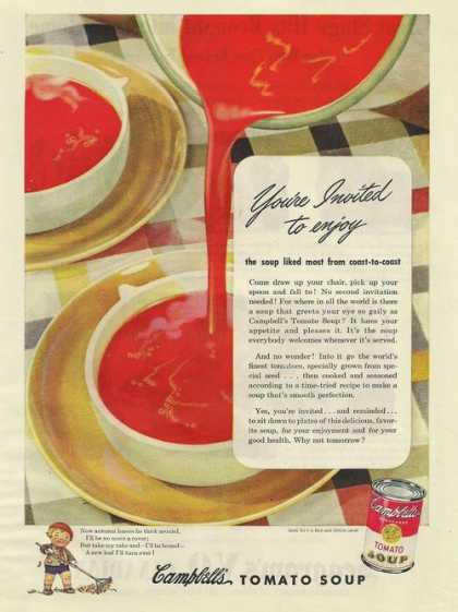 Campbells Tomato Soup In Bowls (1945)