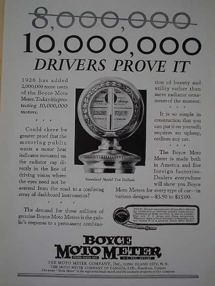 Boyce Moto Meter Heat indicator 10,000,000 drivers prove it. (1926)
