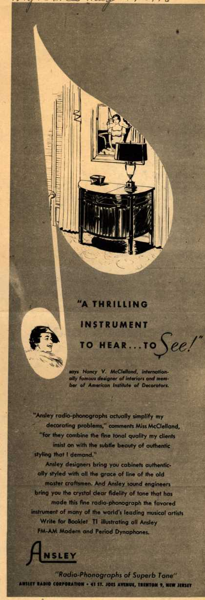 Ansley – A thrilling instrument to hear...to SEE (1946)