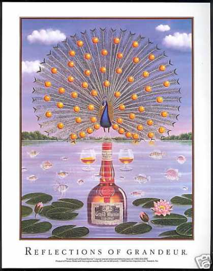 Grand Marnier Liqueur Peacock Lily Art (1990)