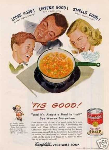 "Campbell's Vegetable Soup Ad ""Tis Good!"" (1948)"