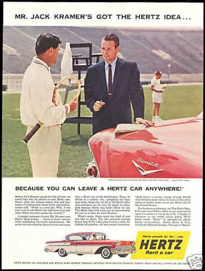 Hertz Rent A Car Chevrolet Jack Kramer Tennis (1958)