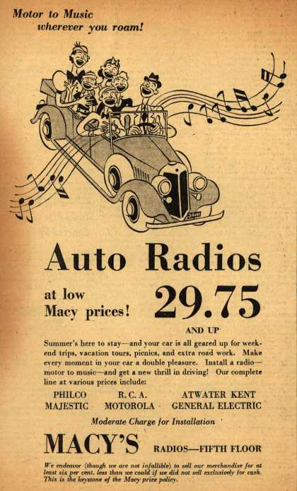 Variou's Auto Radios – Motor to Music wherever you roam! Auto Radios at low Macy's prices (1937)